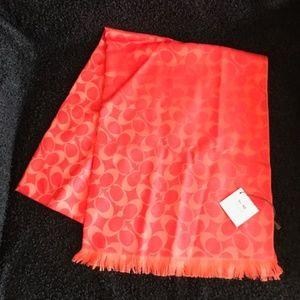 Auth. COACH Wool Silk Vermillion Orange Scarf Wrap
